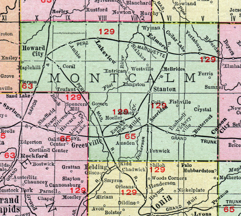 Montcalm County, Michigan, 1911, Map, Rand McNally, Stanton