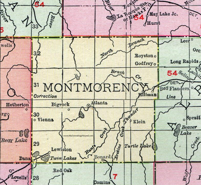 Montmorency County Michigan 1911 Map Rand McNally Atlanta