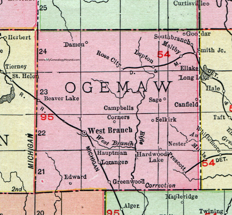 Ogemaw County Michigan 1911 Map Rand Mcnally West Branch Rose