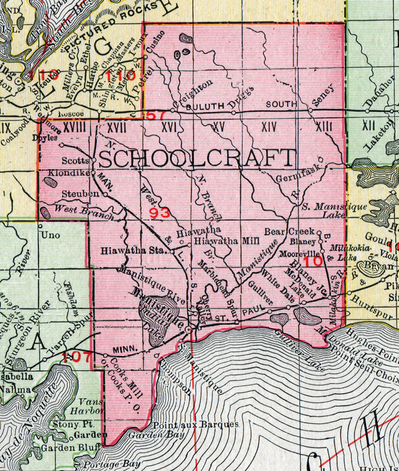 Schoolcraft County, Michigan, 1911, Map, Rand McNally, Manistique