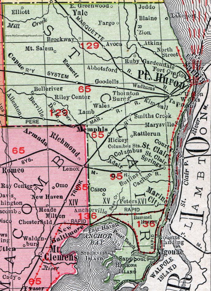 St Clair County Michigan 1911 Map Rand Mcnally Port Huron