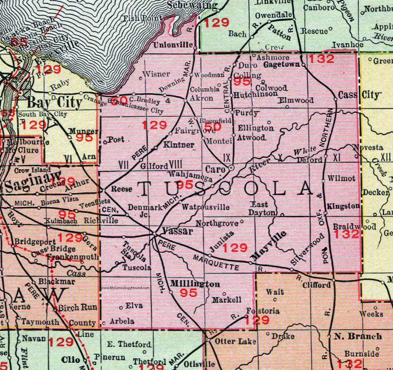 Tuscola County, Michigan, 1911, Map, Rand McNally, Caro, Cass City