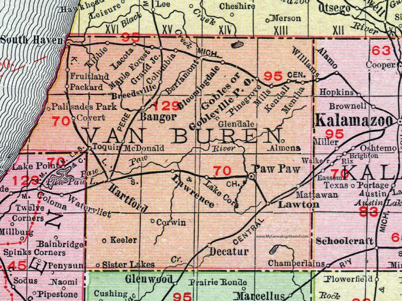 Van Buren County, Michigan, 1911, Map, Rand McNally, Paw Paw