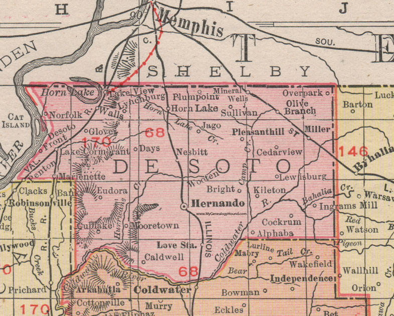 DeSoto County Mississippi 1911 Map Rand McNally Hernando Horn