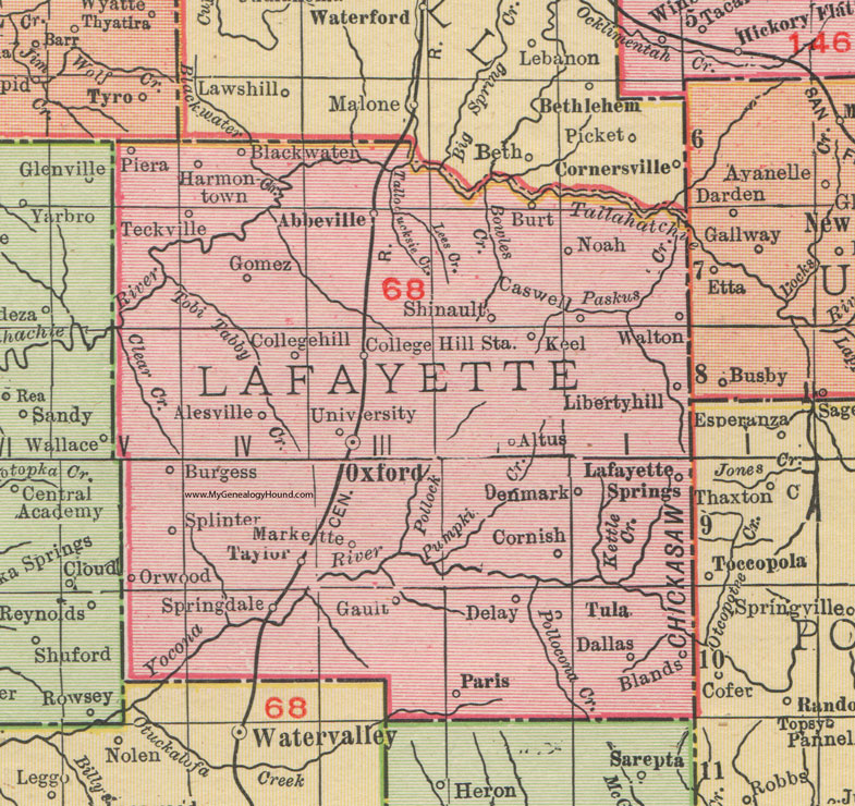 Lafayette County Mississippi 1911 Map Rand McNally Oxford