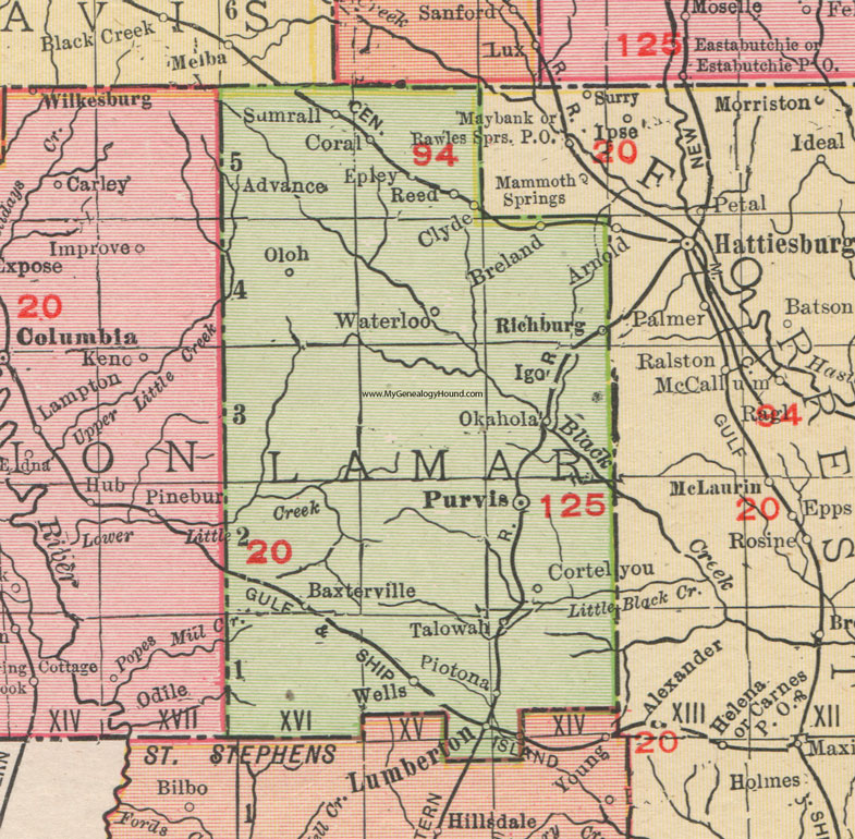 Lamar County, Mississippi, 1911, Map, Rand McNally, Purvis ...