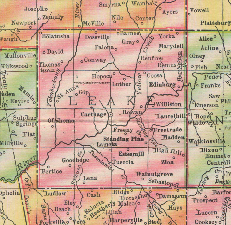 Leake County, Mississippi, 1911, Map, Rand McNally, Carthage ... on al map, mn map, or map, mo map, pa map, sc map, messrs map, ak map, bshs map, ra map, mr map, aig map, tn map, nc map, dhr map, la map, gh map, cpt map, mississippi county map, adm map,