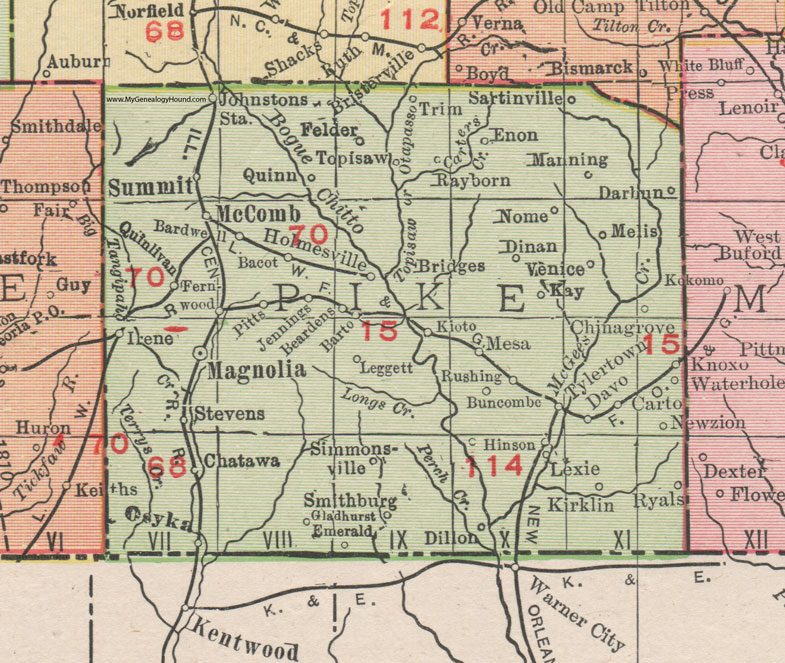 Pike County, Mississippi, 1911, Map, Rand McNally, Magnolia ... on map of forest fires, map of ambergris, map of bay village, map of log country cove,