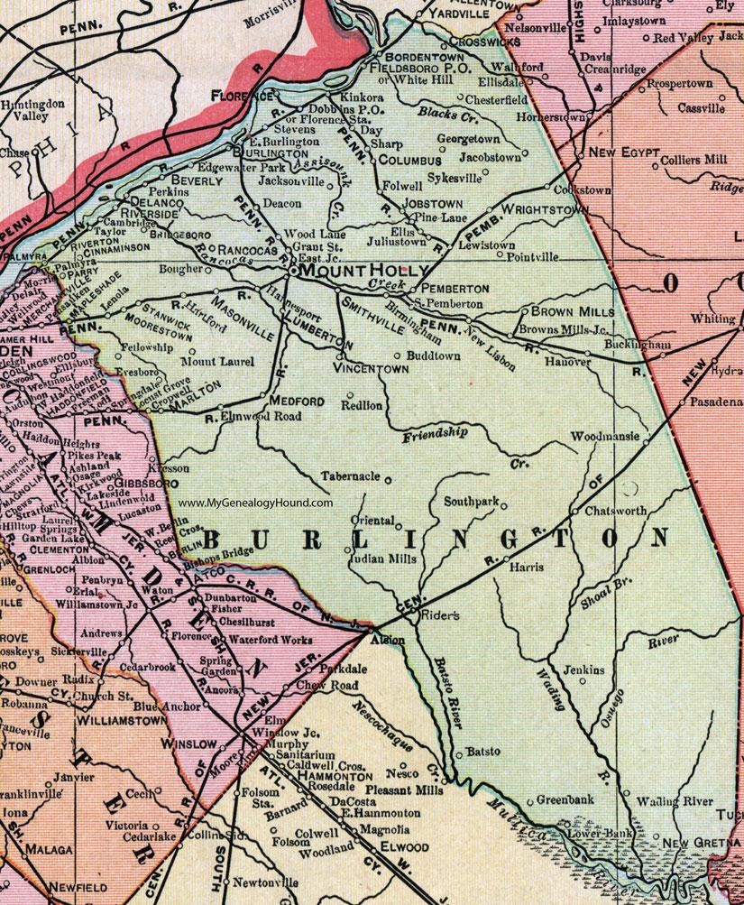 Burlington County New Jersey Map 1905 Cram Mount Holly Palmyra