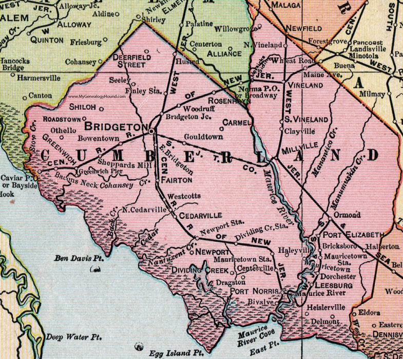 Cumberland County New Jersey 1905 Map Bridgeton Millville Vineland