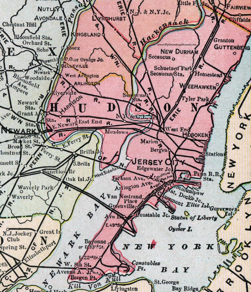 Hudson County New Jersey 1905 Map Cram Jersey City Bayonne
