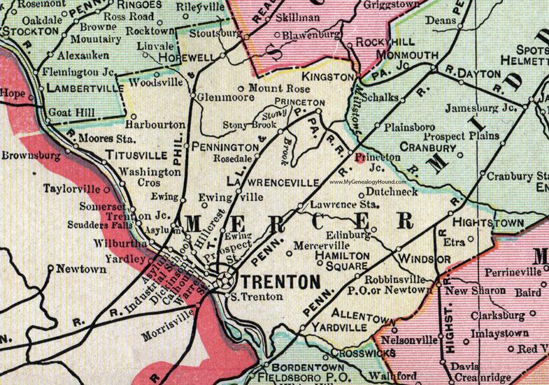 Mercer County New Jersey 1905 Map Cram Trenton Princeton
