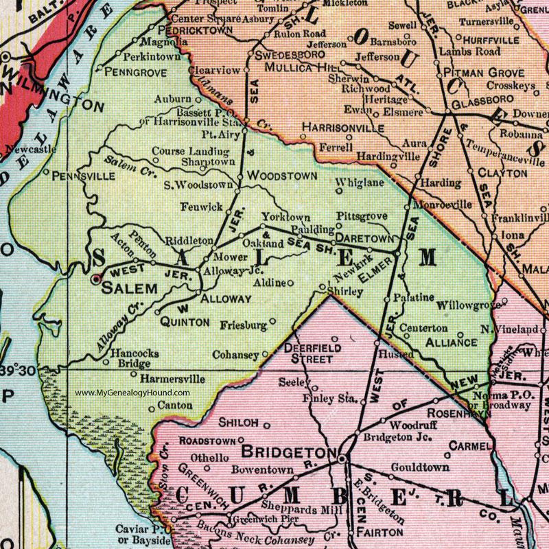 Salem County New Jersey Map Cram Pennsville Penns Grove - Nj map