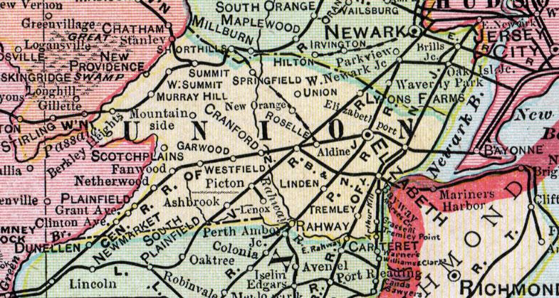 Union County New Jersey 1905 Map Cram Elizabeth Plainfield