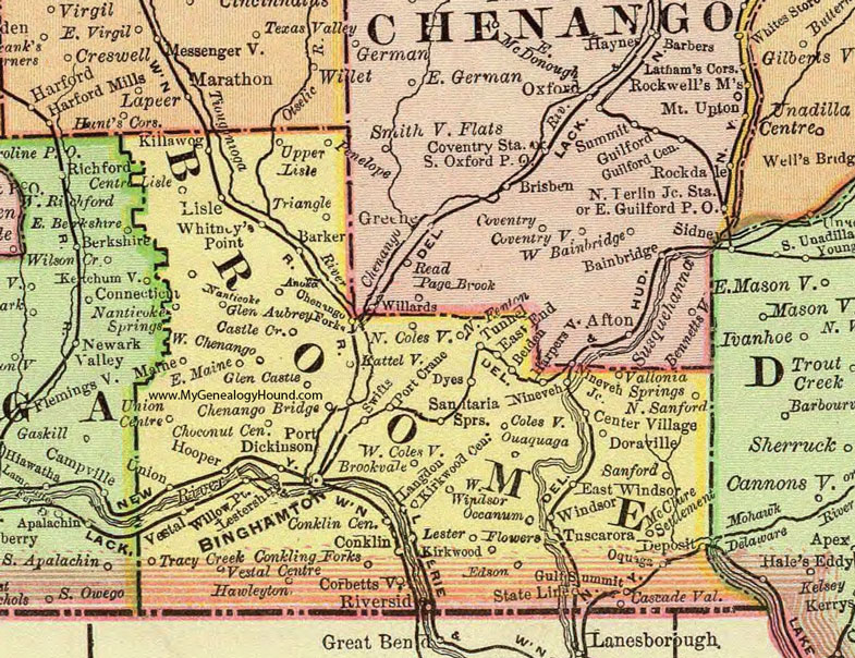 Broome County New York 1897 Map by Rand McNally Binghamton NY