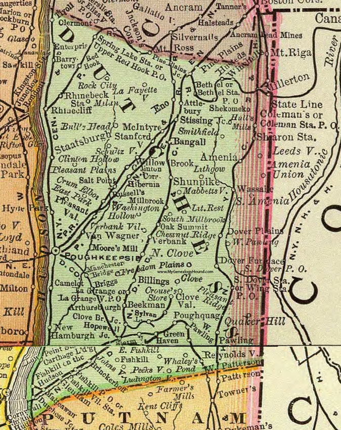 Dutchess County, New York 1897 Map by Rand McNally, Poughkeepsie, NY