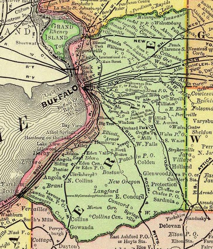 Erie County New York 1897 Map by Rand McNally Buffalo NY