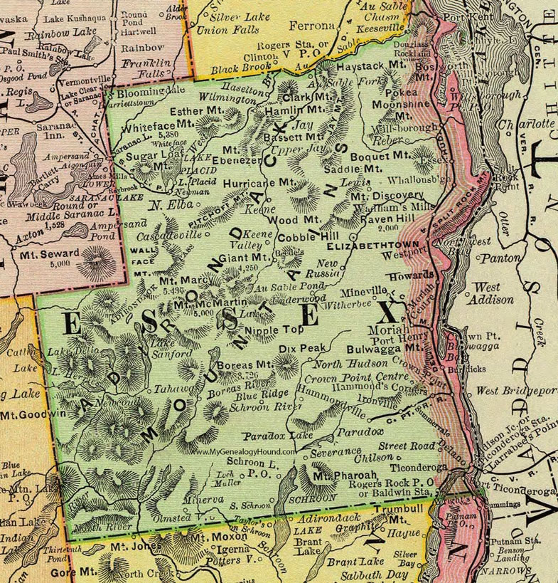 Lake Placid New York Map.Essex County New York 1897 Map By Rand Mcnally Elizabethtown Ny