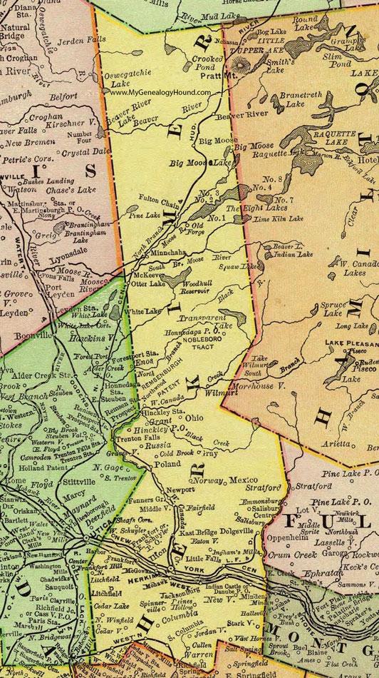 Herkimer County New York 1897 Map by Rand McNally Mohawk NY