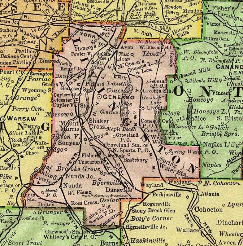 Livingston County New York 1897 Map by Rand McNally Geneseo NY