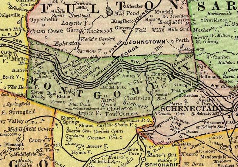 Counties In New York Map.Montgomery County New York 1897 Map By Rand Mcnally Fonda Ny