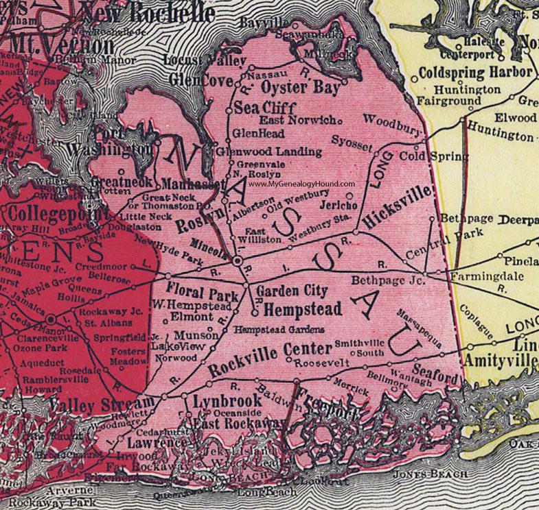 Nassau County New York 1908 Map By Rand Mcnally Hempstead Mineola Ny