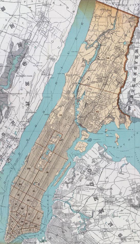new york county new york 1895 map by julius bien manhattan ny