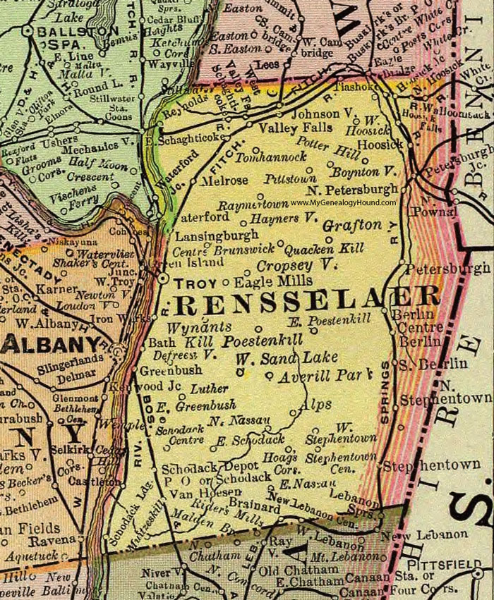 Rensselaer County, New York 1897 Map by Rand McNally, Troy, NY