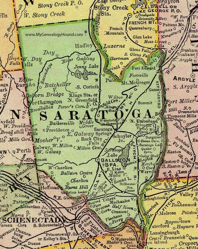 Saratoga New York Map.Saratoga County New York 1897 Map By Rand Mcnally Ballston Spa Ny