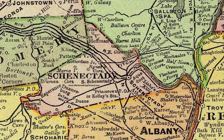 Schenectady County New York 1897 Map by Rand McNally Rotterdam NY