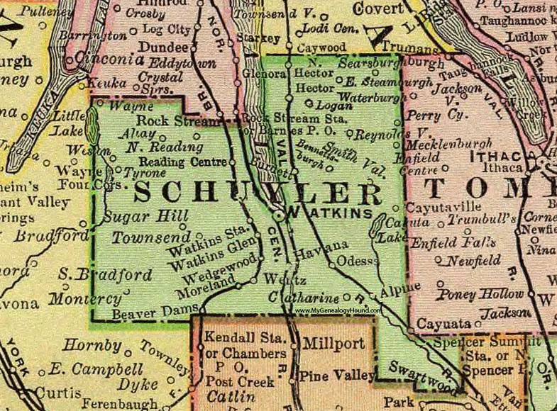 schuyler county new york 1897 map by rand mcnally watkins glen ny