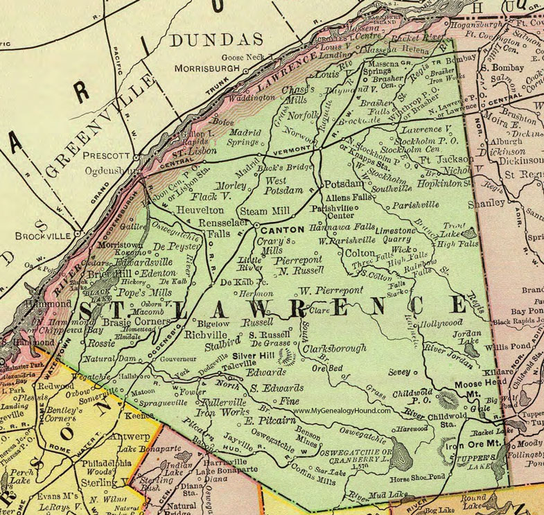 St Lawrence County New York 1897 Map by Rand McNally Canton