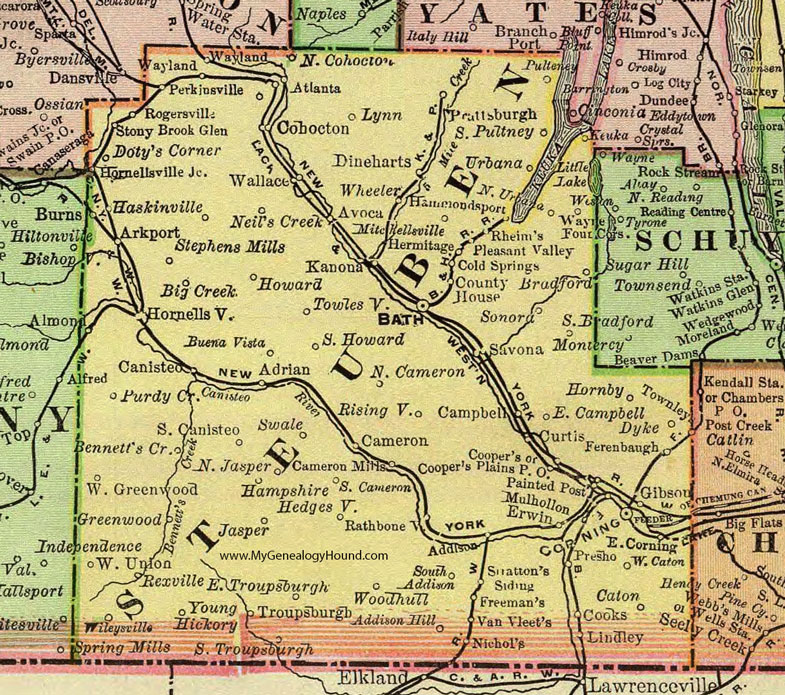 Steuben County, New York 1897 Map by Rand McNally, Bath, Corning, NY