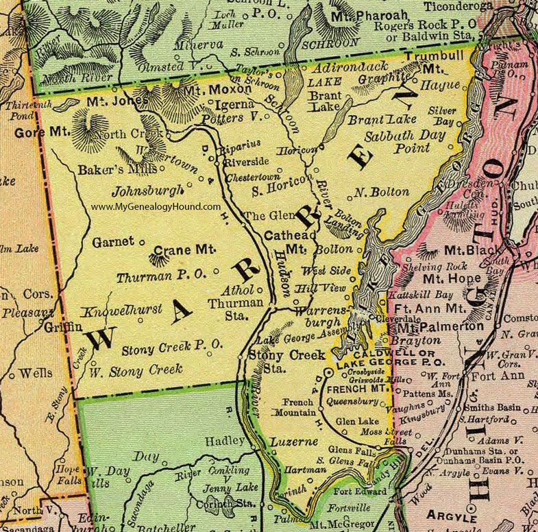 Warren County, New York 1897 Map by Rand McNally, Glen Falls, Lake ...
