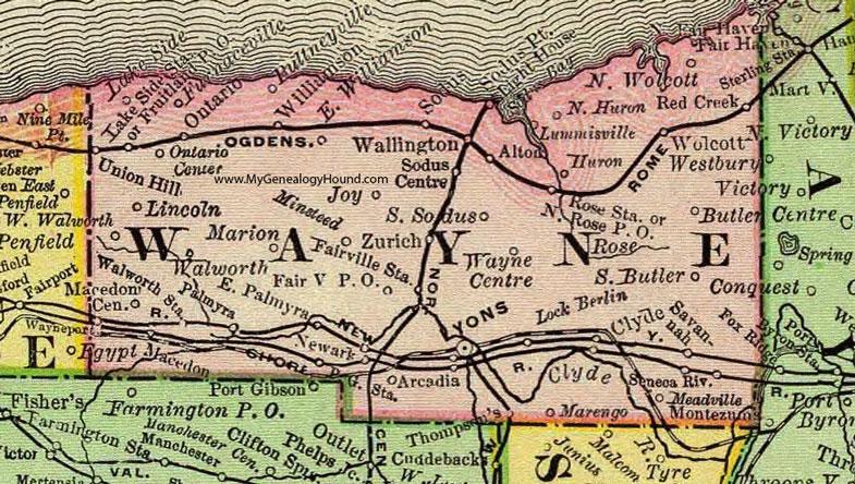 Wayne County New York 1897 Map by Rand McNally Newark Lyons