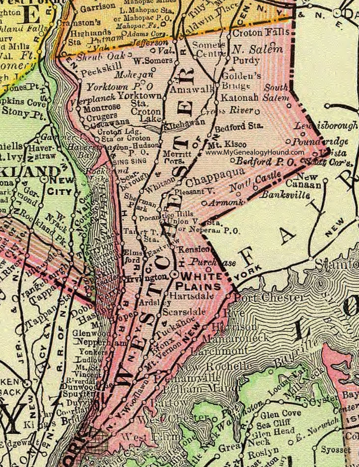 Salem New York Map.Westchester County New York 1897 Map By Rand Mcnally White Plains
