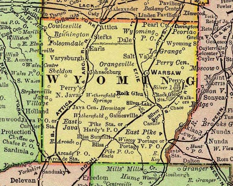 Wyoming County New York 1897 Map By Rand Mcnally Warsaw Ny