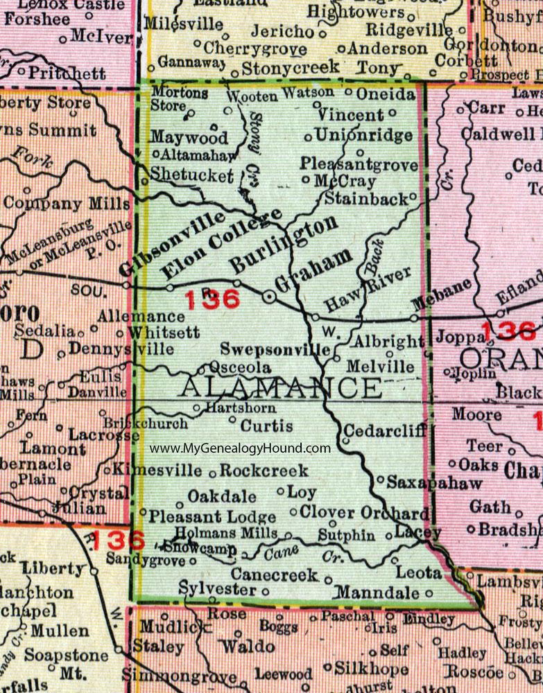 Allamance County, North Carolina, 1911, Map, Rand McNally