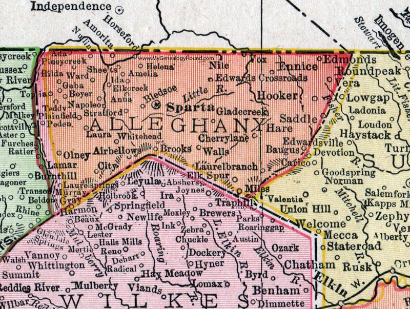 Alleghany County North Carolina 1911 Map Rand Mcnally Sparta