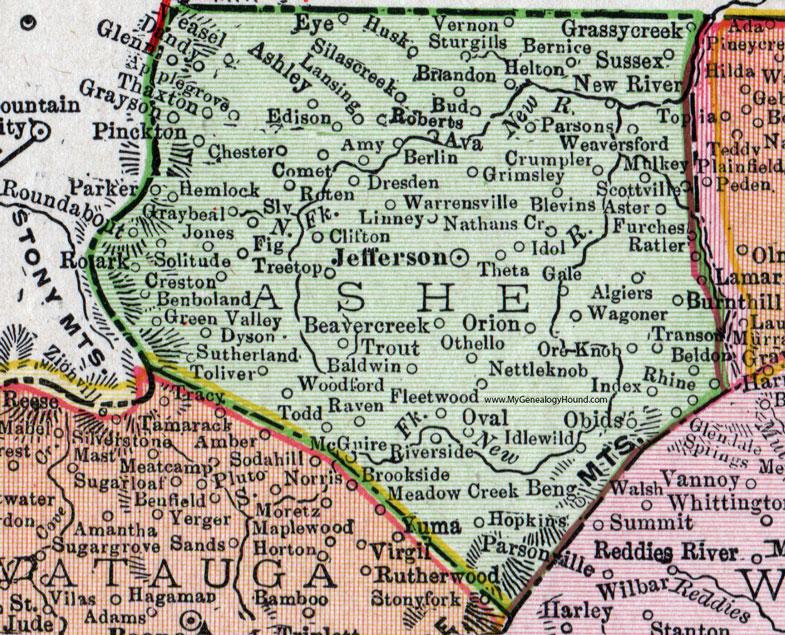 Ashe County, North Carolina, 1911, Map, Rand McNally, Jefferson