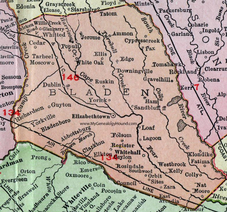 Bladen County North Carolina 1911 Map Rand McNally