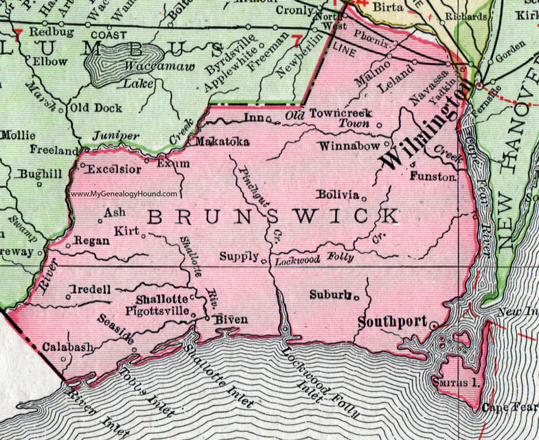Brunswick County North Carolina 1911 Map Rand McNally Navassa