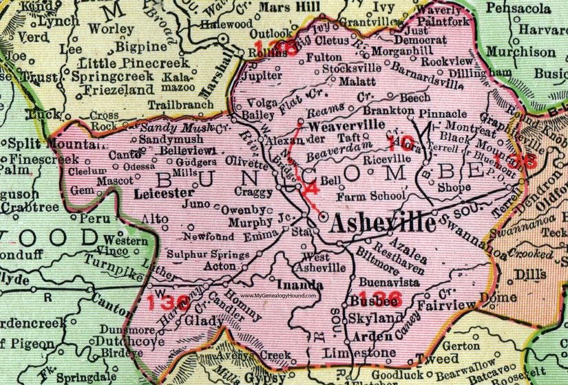 Buncombe County, North Carolina, 1911, Map, Rand McNally