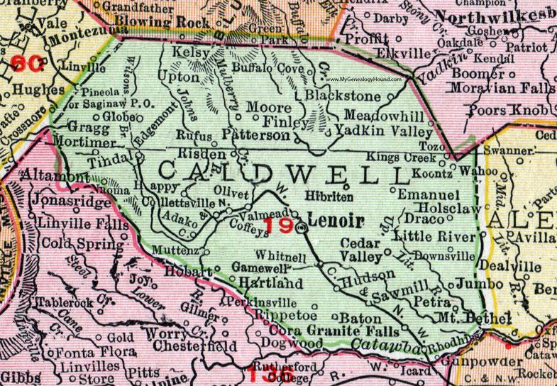 Hudson Nc Map.Caldwell County North Carolina 1911 Map Rand Mcnally Lenoir