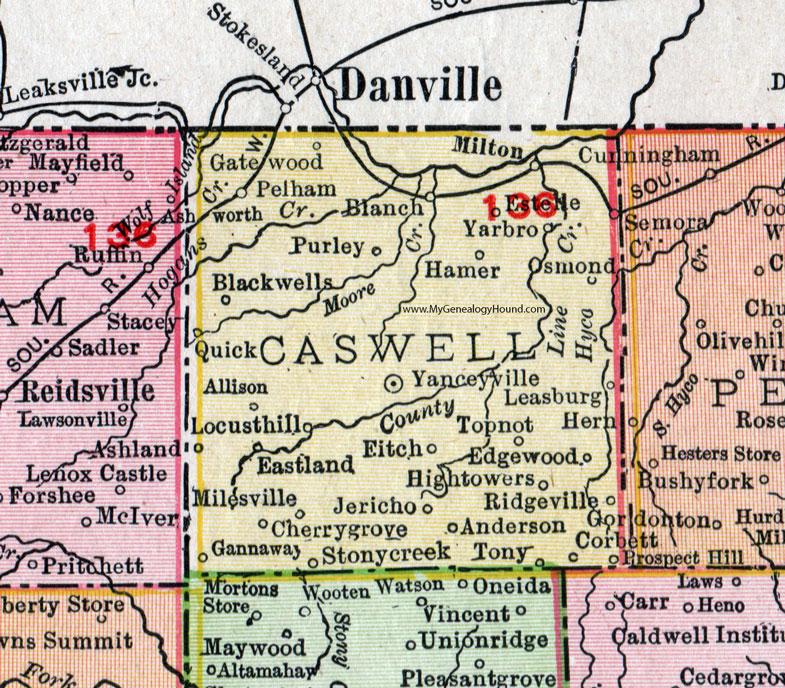 Caswell County, North Carolina, 1911, Map, Rand McNally