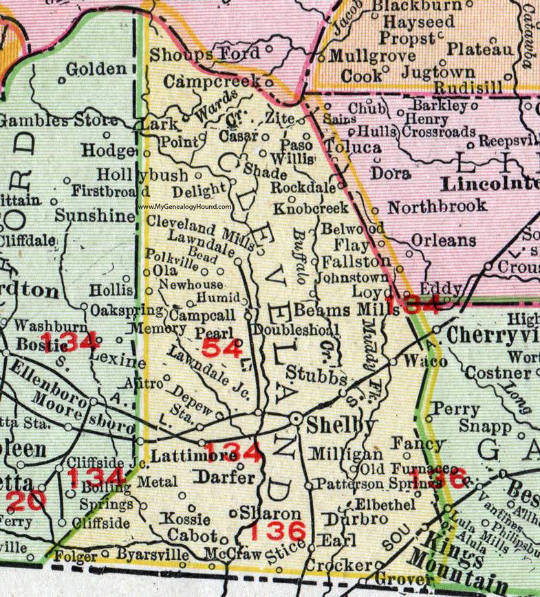 Cleveland County, North Carolina, 1911, Map, Rand McNally ...