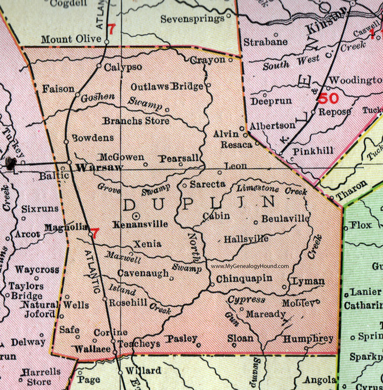 Duplin County, North Carolina, 1911, Map, Rand McNally, Kenansville ...