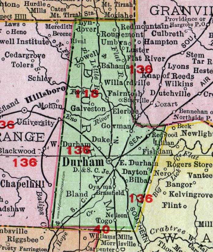 Durham County North Carolina 1911 Map Rand McNally Rougemont