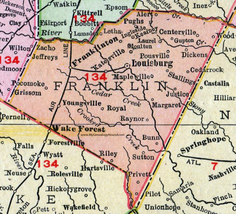 Franklinton Nc Map.Franklin County North Carolina 1911 Map Rand Mcnally Louisburg