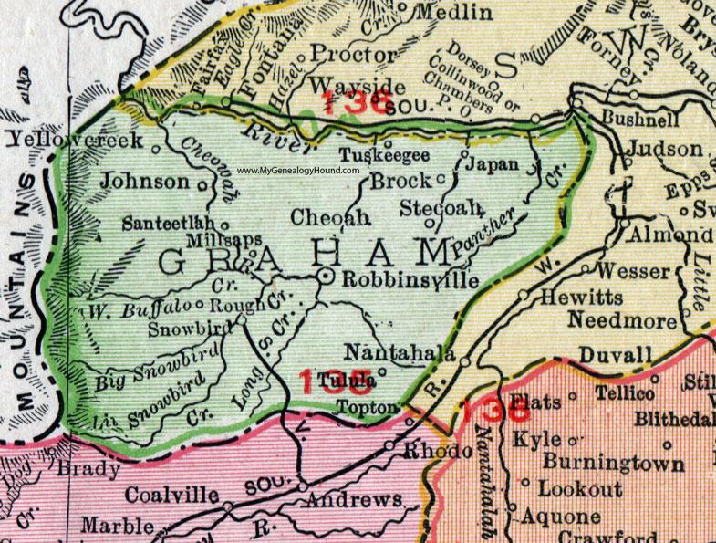 Graham County, North Carolina, 1911, Map, Rand McNally, Robbinsville ...